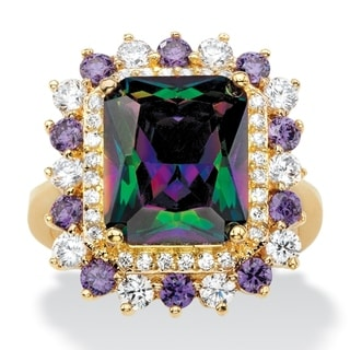 Link to Yellow Gold-plated Mystic Fire Cubic Zirconia Ring - Multi/Purple/White - Multi/Purple/White Similar Items in Rings