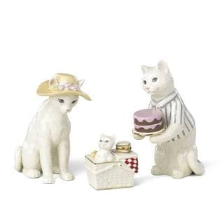 Lenox Cat Family Picnic Porcelain Figurine Set (Pack of 3)