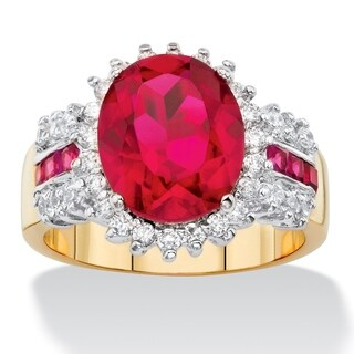 Yellow Gold-Plated Cubic Zirconia Ring - Red/White