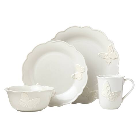 Lenox Butterfly Meadow Vanilla Stoneware Carved 4-piece Place Setting