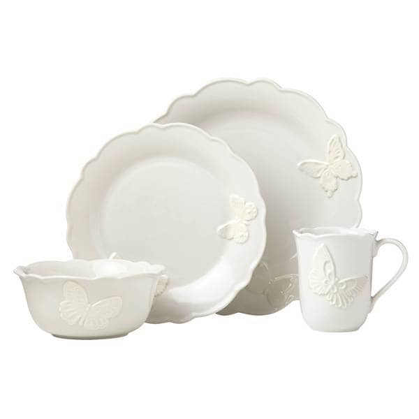 Shop Lenox Butterfly Meadow Vanilla Stoneware Carved 4