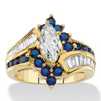 Yellow Gold-plated Cubic Zirconia and Simulated Sapphire Ring - Blue/White