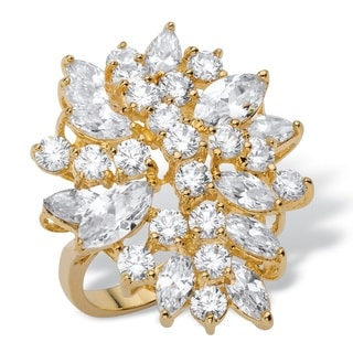 18k Yellow Goldplated 5.40tcw Marquise-cut and Round White Cubic Zirconia Cluster Cocktail Ring
