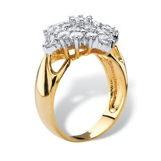 2.45 TCW Cubic Zirconia Diamond-Shaped Cluster Cocktail Ring 14k Yellow Gold-Plated Classic CZ