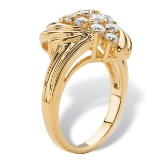 .94 TCW Round White Cubic Zirconia Cluster Wave Cocktail Ring 18k Yellow Gold-Plated Classic CZ