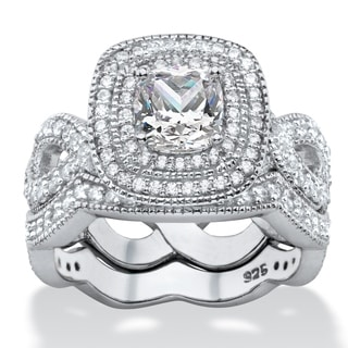 1.92 TCW Cushion-cut Cubic Zirconia 2-piece Double Halo Scalloped Crossover Bridal Ring