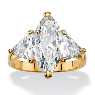 Yellow Gold-plated Cubic Zirconia Ring - White