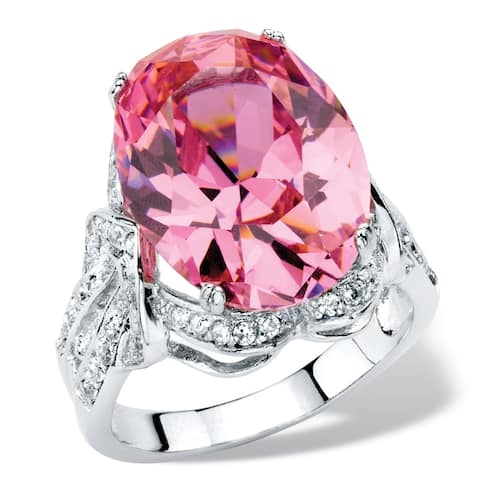 Platinum-plated Pink Cubic Zirconia Ring - White