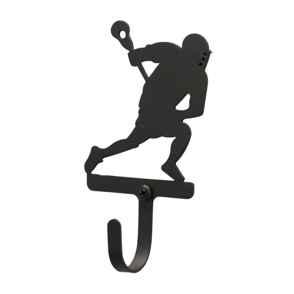 Lacrosse Player Black Wrought Iron Small Wall Hook