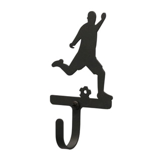 Soccer Player Black Wrought Iron Small Wall Hook