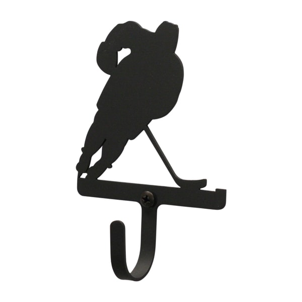 Hockey Player Black Wrought Iron Small Wall Hook
