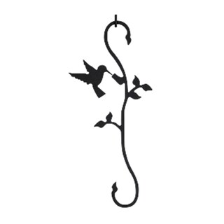Hummingbird and Flower Black Wrought Iron S-hook