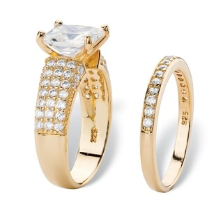 Yellow Gold over Sterling Silver Cubic Zirconia Bridal Ring Set - White