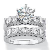 3 TCW Round White Cubic Zirconia 2-Piece Bar-Set Bridal Wedding Ring Set in Platinum over Sterling S Classic CZ