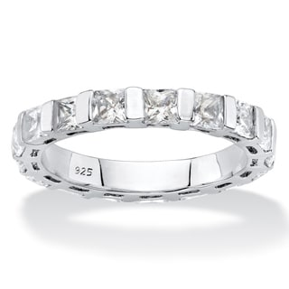 Platinum over Sterling-silver 2.72tcw Princess-cut White Cubic Zirconia Bar-set Eternity Ring Band