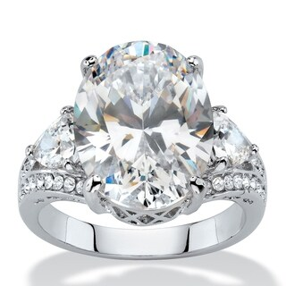 Platinum-plated Cubic Zirconia and Crystal Ring - White