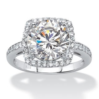 4.36 TCW White Cubic Zirconia Halo Cocktail Ring in Platinum over .925 Sterling Silver Glam CZ