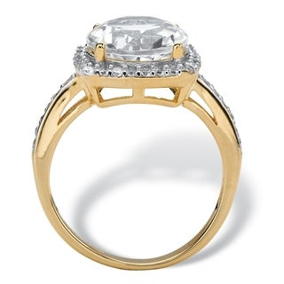 4.36 TCW White Cubic Zirconia Halo Cocktail Ring in Gold Over .925 Sterling Silver Glam Cz