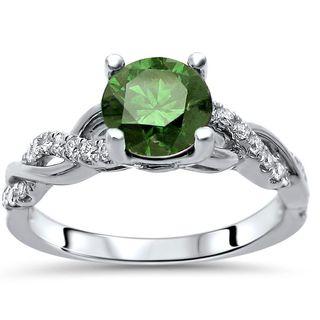 Certified Noori 14k White Gold 1ct TDW Green Round Cut Diamond Engagement Ring (Green/F-G, SI1-SI2)