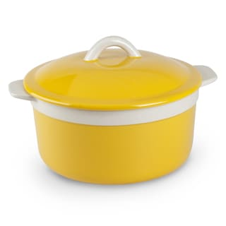 Mr Food Test Kitchen Yellow Stoneware 1.5-quart Round Casserole With Lid
