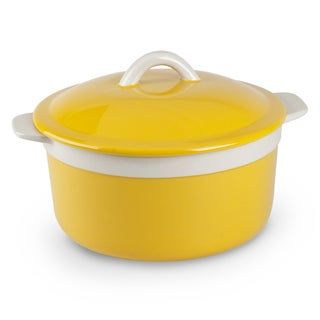 Mr Food Test Kitchen Yellow Stoneware 1.5-quart Round Casserole With Lid