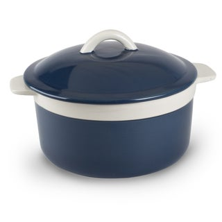 Mr Food Test Kitchen Blue Stoneware 1.5-quart Round Casserole with Lid