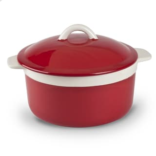 Mr Food Test Kitchen Red Stoneware 1.5-quart Lidded Round Casserole Dish