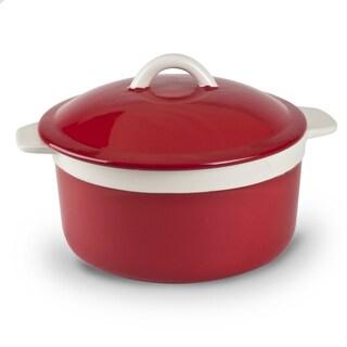 Mr Food Test Kitchen Red Stoneware 1.5-quart Lidded Round Casserole Dish