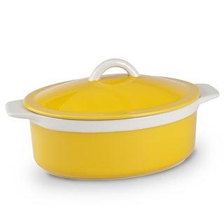Mr Food Test Kitchen Yellow Ceramic 1.75-quart Oval Lidded Casserole