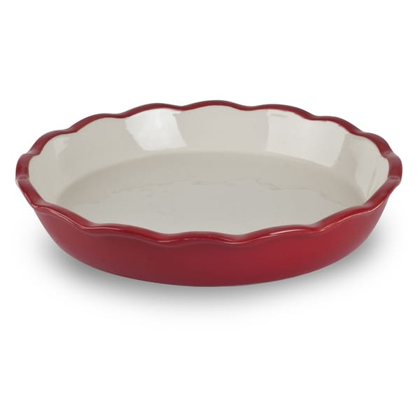Mr Food Test Kitchen Red Ceramic Stoneware 10-inch Pie Plate  sc 1 st  Overstock.com : 10 pie plate - pezcame.com