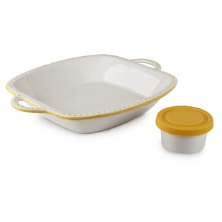 Mr Food Test Kitchen Yellow Ceramic Chip & Dip Set with Silicon Cover for Dip Bowl