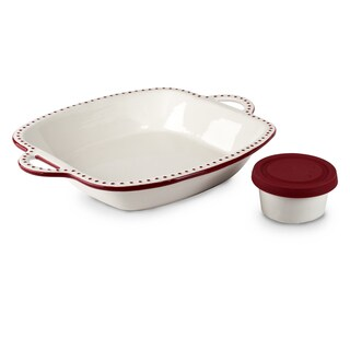 Mr Food Test Kitchen White and Red Ceramic 3-piece Chip and Dip Set with Silicon Cover for Dip Bowl