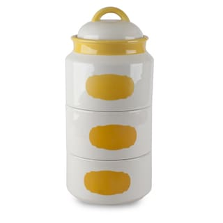 Mr Food Test Kitchen Yellow Stackable Canister Set with Chalkboard