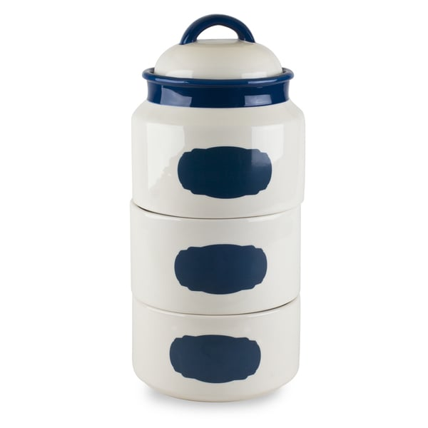 Mr Food Test Kitchen Blue Stackable Canister Set with Chalkboard