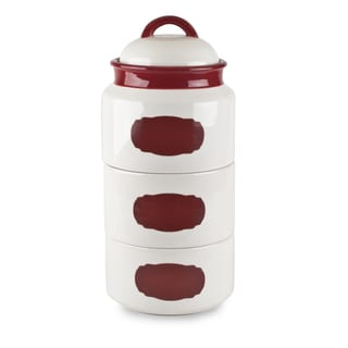 Mr Food Test Kitchen Red Stackable Canister Set with Chalkboard