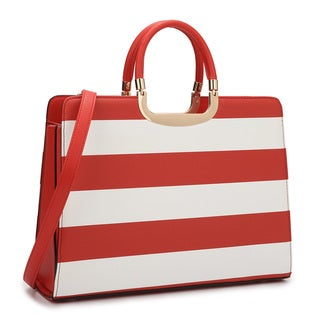 Dasein Striped Briefcase with Removable Shoulder Strap
