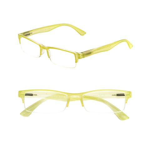 Pop Fashionwear R210 Unisex Rectangle Pastel Rimless Spring Hinge Readers