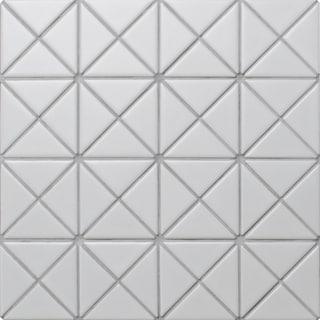"2"" Pure Color Pattern Triangular Porcelain Matte White Mosaic Tiles TR2-MW(10 Sheets per Carton)"
