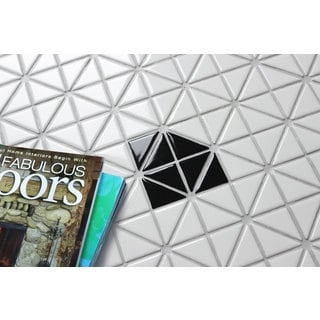 1-inch Single Diamond Pattern Triangular Porcelain Glossy Mosaic Tile (10 Sheets per Carton)