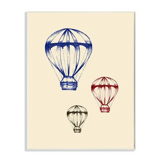 'Graphic Hot Air Balloon - Blue Red Green' Wall Plaque Art