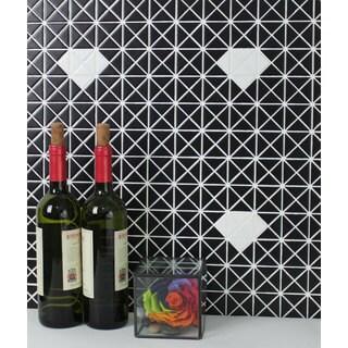 "1"" Single Diamond Pattern Triangular Porcelain Glossy Mosaic Tiles TR1-SD-MB-W(10 Sheets per Carton)"