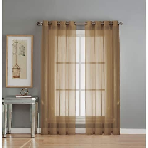 Window Elements Diamond Sheer Voile Extra Wide 90-inch Grommet Curtain Panel - 56 x 90 - 56 x 90