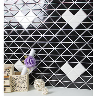 2-inch Single Heart Pattern Glossy Porcelain Mosaic Tile (10 Sheets per Carton)