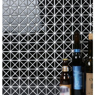 1-inch Solid Black Grid Pattern Glossy Porcelain Mosaic Tile (10 Sheets per Carton)
