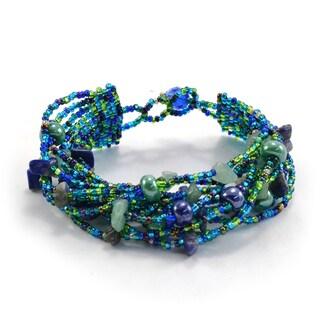 Handmade Blue & Green Beach Ball Bracelet - Lucia's Imports (Guatemala)