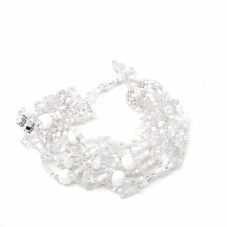 Handmade White & Silver Beach Ball Bracelet - Lucia's Imports (Guatemala)