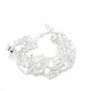 Handmade White & Silver Beach Ball Bracelet - Lucia's Imports (Guatemala)
