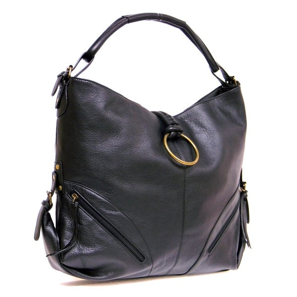 d6c784d16090 Donna Bella Designs Octavia Black Faux Leather Hobo Handbag