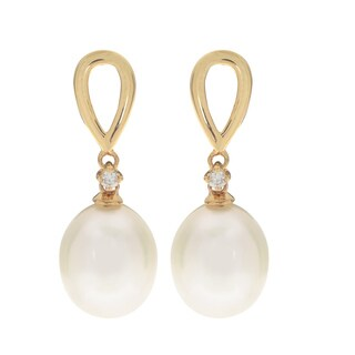 Pearls For You 10k Yellow Gold White Freshwater Pearl and Diamond Accent Drop 8-9 mm H-I, I2-I3 Earrings