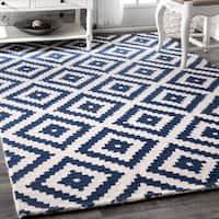 nuLOOM Handmade Abstract Wool Fancy Pixel Trellis Navy Rug - 7'6 x 9'6